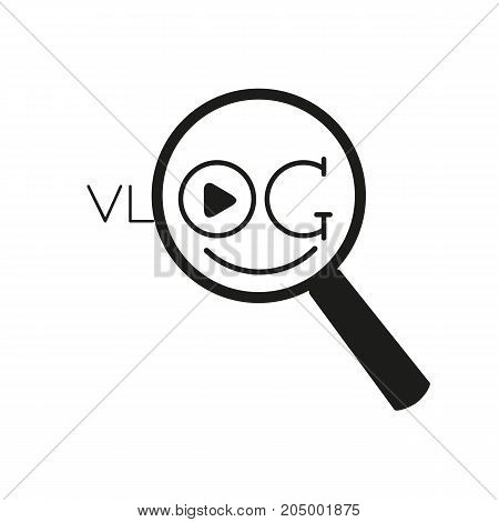 Vlog line icon with loupe. Vector illustration.
