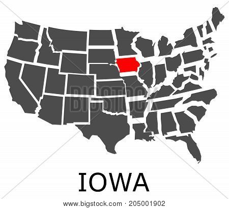State Of Iowa On Map Of Usa