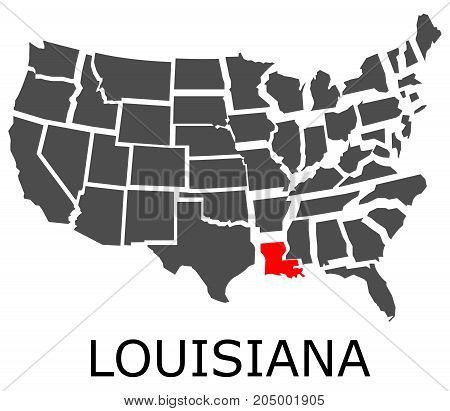 State Of Louisiana On Map Of Usa