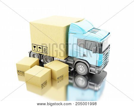 3D Truck With Carboard Boxes