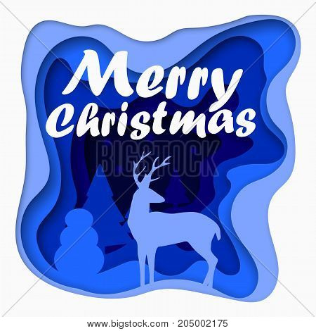 3d Layered cut out paper Merry Christmas postcard with trees, deer, stars. Vector template in carving art style. Eps10.