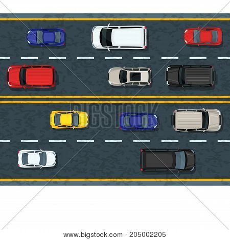 Vector Flat Illustration Of City Transport And Traffic Jam. Highway Road With Moving Cars. Automobil