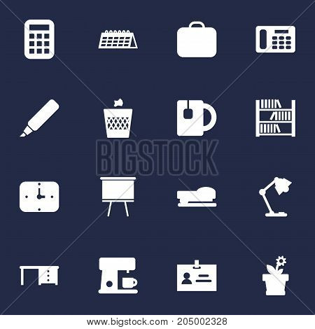 Collection Of Time, Desktop, Blackboard And Other Elements.  Set Of 16 Bureau Icons Set.