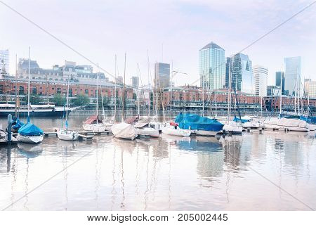 Puerto Madero neighborhood in Buenos Aires Argentina. Tourism and touristic concept.