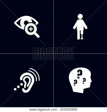 Collection Of Artificial Limb, Listening Device, Lens And Other Elements.  Set Of 4 Accessibility Icons Set.