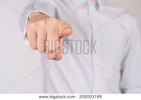 Man Pointing Camera.