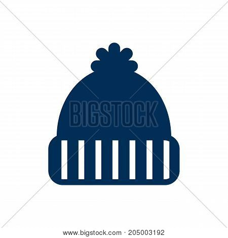 Vector Knitted Hat Element In Trendy Style.  Isolated Beanie Icon Symbol On Clean Background.