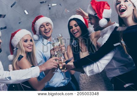 Close Up Of Cute Festive Youth With Stemware Of Martini On Luxury Feast, Glitters Is In Air, Newyear