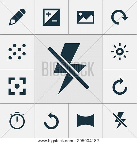 Photo Icons Set. Collection Of Rotate Left, Chronometer, Pen And Other Elements