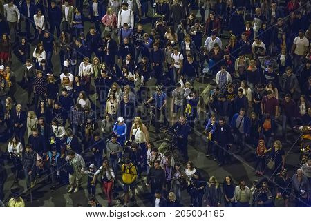Voronezh, Russia, September 16, 2017: crowd of people walking along the street of Voronezh city on the day of the celebration of the City Day
