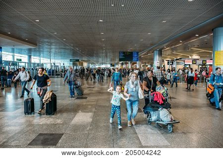 Moscow, Domodedovo, Russia - May 29, 2017: passengers are rushing to their flight, Domodedovo International Airport in Moscow
