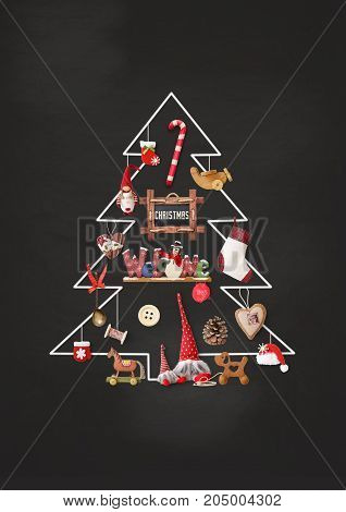 Merry Christmas Greeting Card - Chalk Christmas Tree with Gifts and Xmas Toys on Blackboard.