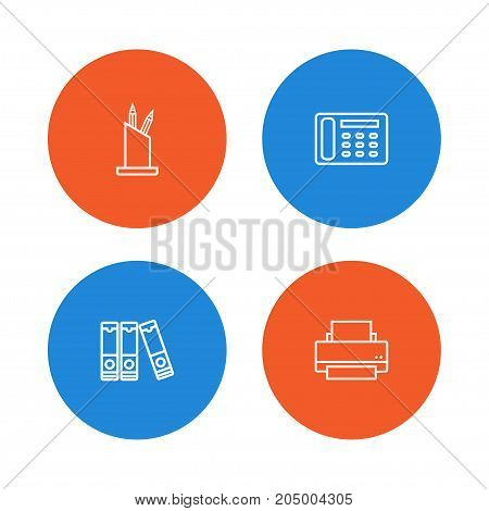 Collection Of Document Case, Printing Machine, Contacts And Other Elements.  Set Of 4 Work Outline Icons Set.