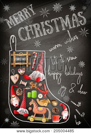 Merry Christmas Greeting Card - Chalk Christmas Sock with Gifts and Xmas Toys on Blackboard. New Year Chalk Text.