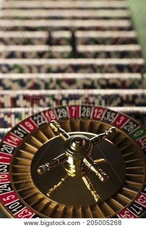 Casino theme. Gambling games. Closeup of the roulette wheel.