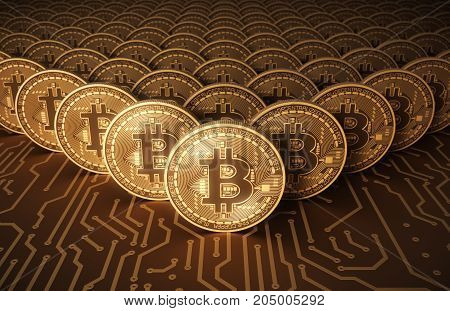 Virtual Coins Bitcoins On Printed Circuit Board. 3D Illustration.