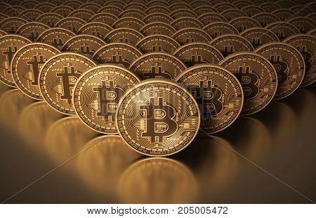 Many Gold Virtual Coins Bitcoins. 3D Illustration.