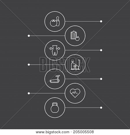 Collection Of Pulse, Running Track, Exercise Bike And Other Elements.  Set Of 7 Fitness Outline Icons Set.