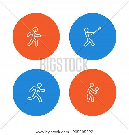 Collection Of Swordplay, Stick, Player And Other Elements.  Set Of 4 Fitness Outline Icons Set.