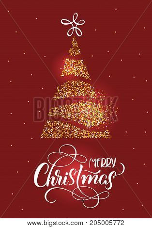 Merry Christmas text on on red holiday background with stilized fir tree and stars. Hand drawn Calligraphy lettering Vector illustration EPS10.