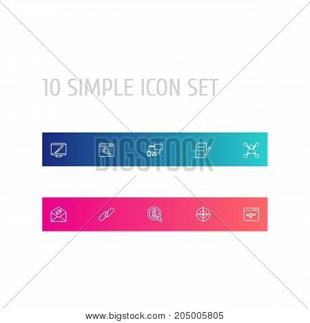 Collection Of Landing Page, Web Design, Stock Exchange Elements.  Set Of 10 Search Outline Icons Set.