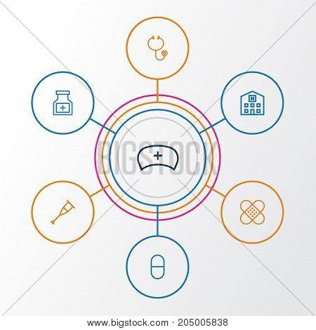 Drug Outline Icons Set. Collection Of Medicine, Medical Hat, Plaster And Other Elements