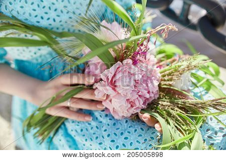 Made With Your Own Hands. Master Class On Making Bouquets. Manufacturer Of A Summer Bridal Bouquet.