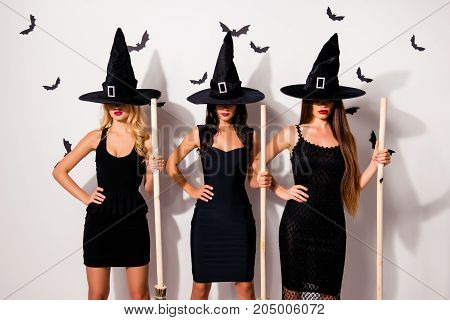 Three Mysterious Mistress Vampire Monsters In Elegant Costume Clothing In Long Wizard Headwears, Cov