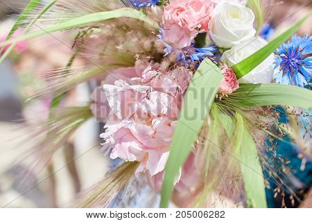 Manufacturer Of A Summer Bridal Bouquet. Learning Flower Arranging, Making Beautiful Bouquets With Y