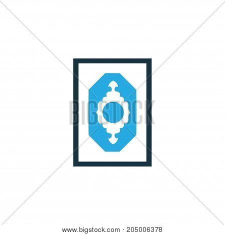 Premium Quality Isolated Rug Element In Trendy Style.  Prayer Carpet Colorful Icon Symbol.