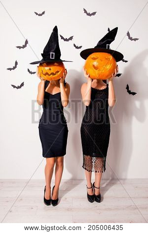 Full Length Shot Of Two Huge Carved Handmade Cutted Decorative Pumpkins Instead Oh Heads Of Wizards,