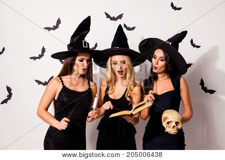 Three Hot Sorceress Supersition Spiritualists, Practising Occultism, With Skeleton Head, Diabolic, S