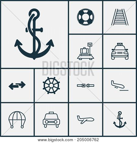 Delivery Icons Set. Collection Of Taxi, Skydive, Baggage And Other Elements