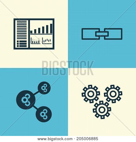Robotics Icons Set. Collection Of Algorithm Illustration, Controlling Board, Mechanism Parts And Other Elements
