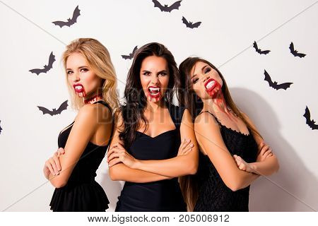 Trick Or Treat! Terrifyng Nightmare. Group Of Three Hot Thirsty Angry Vamps With Bloody Mouthes, Red