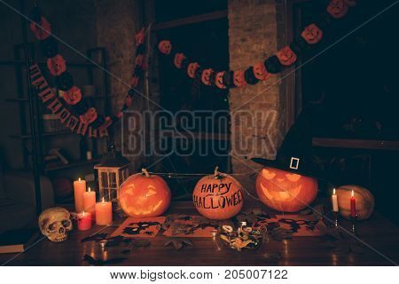 Preparation For Halloween, On Top Of Wooden Table Are Cutted Pumpkin, Fall Leaves, Spider Web, Garla