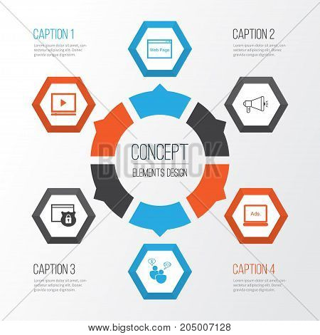 SEO Icons Set. Collection Of Media Campaign, Search Optimization, Security And Other Elements