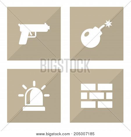 Collection Of Shot, Firewall, Dynamite And Other Elements.  Set Of 4 Security Icons Set.