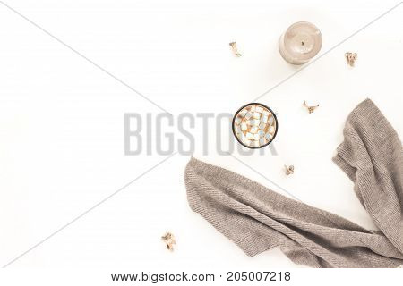Autumn Composition. Cup Of Coffee, Mashmellow, Grey Scarf, Grey Candle On White Background