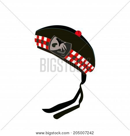Vector illustration of Glengarry bonnet, scottish traditional clothing, worn as part of military or civilian Highland dress, either formal or informal.