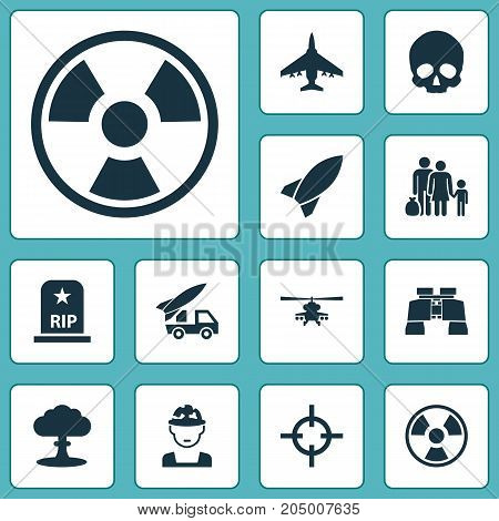 Warfare Icons Set. Collection Of Rip, Missile, Dangerous And Other Elements