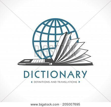 Logo - Online dictionary concept - Laptop as book