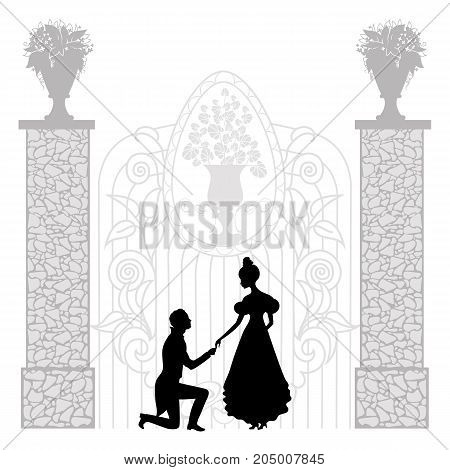 Silhouette of young couple woman and man kneeling in profile, making propose, retro style illustration