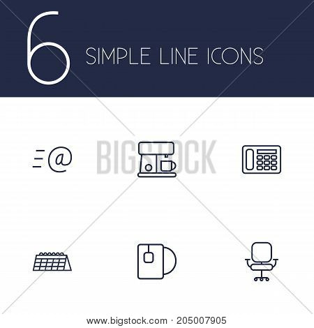 Collection Of Calendar, Email, Chair And Other Elements.  Set Of 6 Bureau Outline Icons Set.