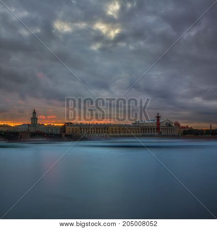 beautiful sunset in Saint Petersburg. The Palace bridge. Vasilievsky island. Russia