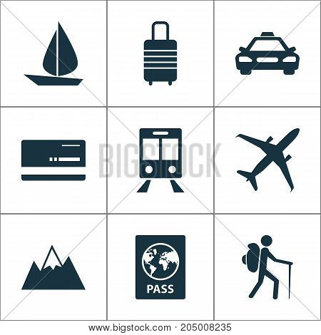 Traveling Icons Set. Collection Of Mount, Car, Railway Carriage And Other Elements