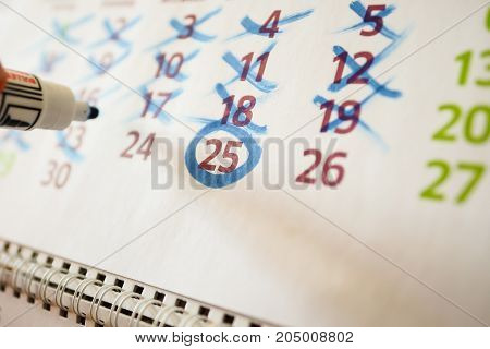 Markings In The Desktop Calendar, Marker Markings.