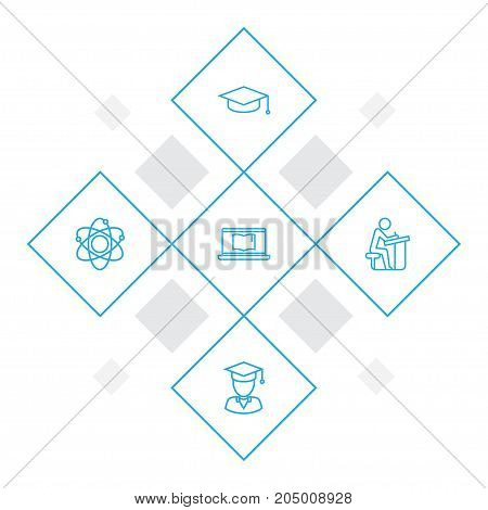 Collection Of Graduation Cap, Atom, Pupil And Other Elements.  Set Of 5 Education Outline Icons Set.