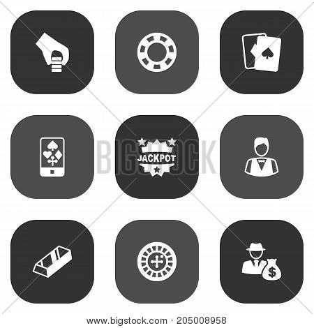 Collection Of Playing Cards, Dealer, Online Casino And Other Elements.  Set Of 9 Gambling Icons Set.