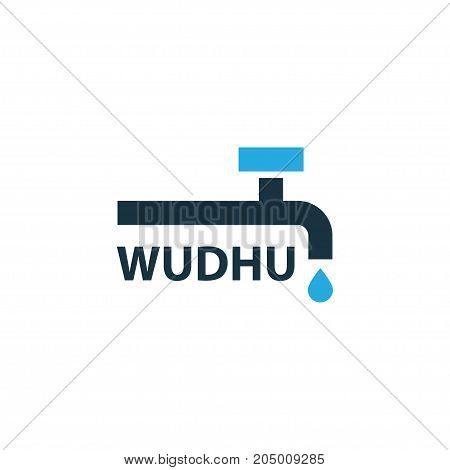 Premium Quality Isolated Abdest Element In Trendy Style.  Wudhu Colorful Icon Symbol.